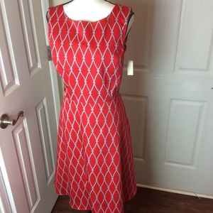 Talbots fit and flare red dress